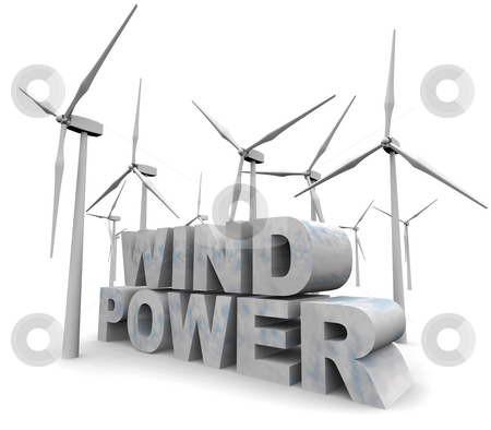 Wind Power Words - Alternative Energy stock photo, The words Wind Power surrounded by windmill turbines by Chris Lamphear
