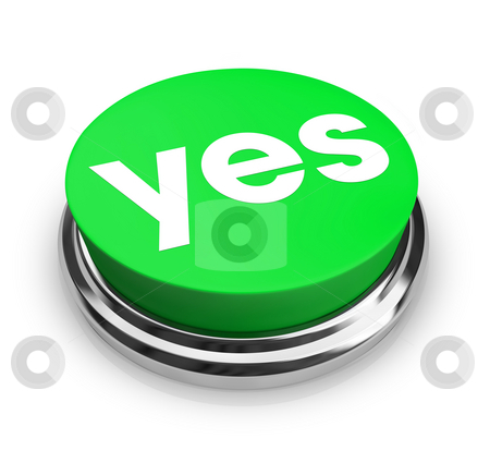 Yes - Green Button stock photo, A green button with the word Yes on it by Chris Lamphear