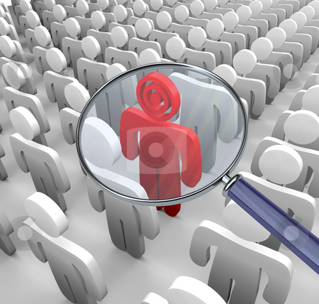 Targeting Individual - Magnifying Glass stock photo, A single figure is targeted with a bulls-eye for a head. by Chris Lamphear