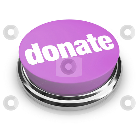 Donate - Purple Button stock photo, A purple button with the word Donate on it by Chris Lamphear