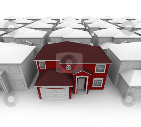 Searching for Your Dream Home stock photo, An attractive red home stands out in a plain neighborhood by Chris Lamphear