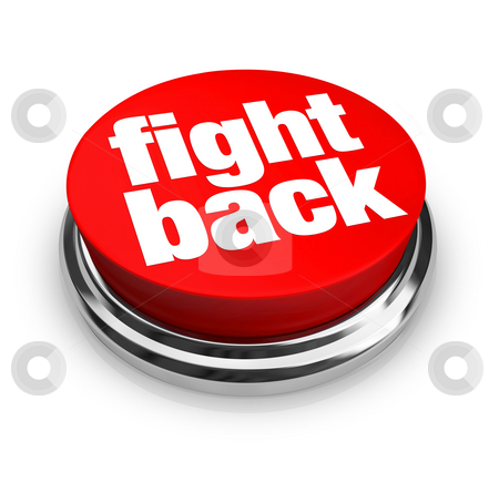 Fight Back - Red Button stock photo, A purple button with the word Donate on it by Chris Lamphear