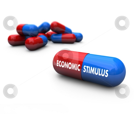 Economic Stimulus - Pills stock photo, A red and blue pill with the words Economic Stimulus on it by Chris Lamphear
