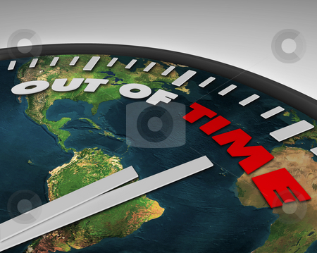 Out of Time - Earth Clock stock photo, Earth clock with words Out of Time on its face by Chris Lamphear