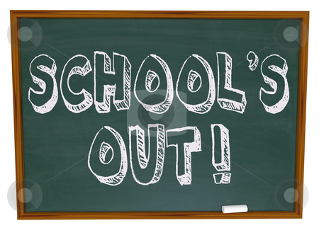 School's Out - Written on Chalkboard stock photo, The words School's Out written on a chalkboard by Chris Lamphear