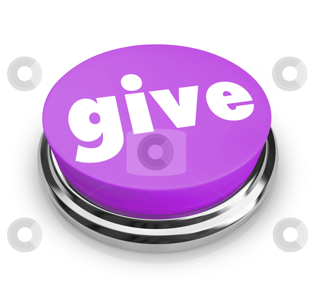 Give - Charity Button stock photo, A purple button with the word Give on it by Chris Lamphear