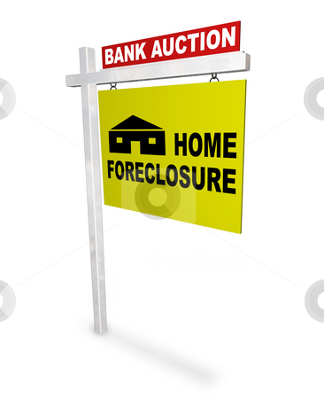 Home Foreclosure Sign stock photo, A sign reads Bank Auction - Home Foreclosure by Chris Lamphear