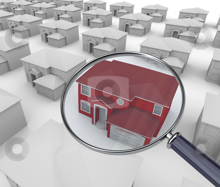 On Closer Inspection - Red House stock photo, A magnifying Glass hovers over a unique red home by Chris Lamphear