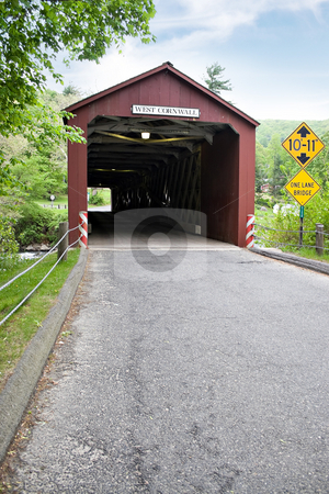 Historic Covered Bridge stock photo, The old covered bridge found in West Cornwall Connecticut USA. by Todd Arena