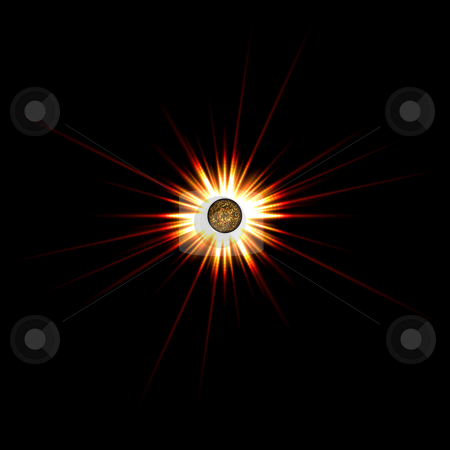Solar Flare Star Burst stock photo, A bright solar flare over a black background. by Todd Arena