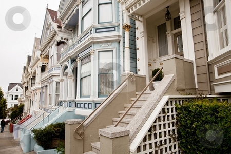 Painted Ladies stock photo, Painted Ladies is a term used for Victorian and Edwardian houses and buildings painted in three or more colors that embellish or enhance their architectural details. by Mariusz Jurgielewicz