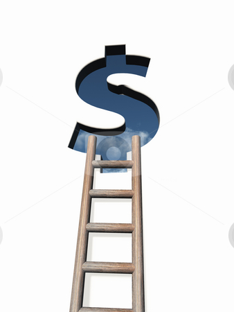 Dollar stock photo, Dollar sign hole in wound with ladder - 3d illustration by J?