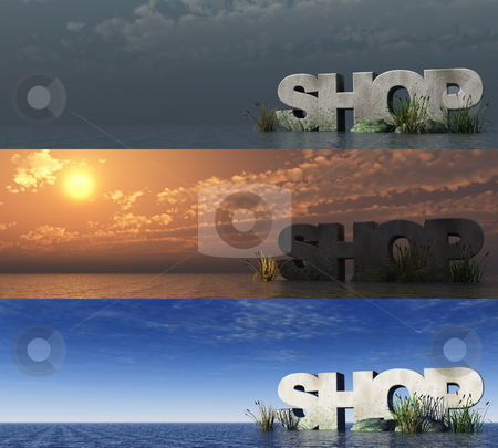 Shop stock photo, The word shop at the ocean at three different day times - 3d illustration by J?