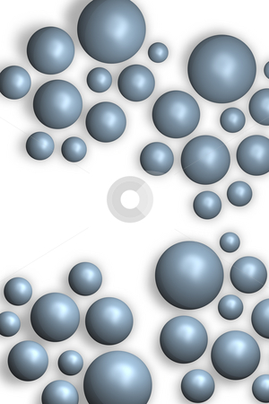 Bubbles stock photo, Blue balls on white background - 3d illustration by J?