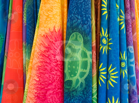 Colorful scarfs stock photo, Colorful scarfs hanging together by Wiktor Bubniak