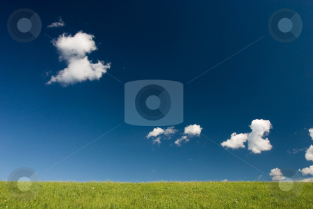 Minimalistic summer landscape stock photo, Summer abstract landscape with small white clouds by Wiktor Bubniak