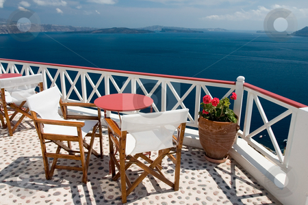 Summer view from the balcony stock photo, Beautiful view from balcony on the Santorini island by Wiktor Bubniak