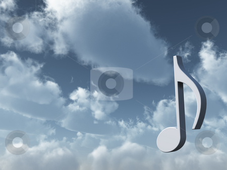 Music stock photo, Music note in the sky - heavenly sound - 3d illustration by J?