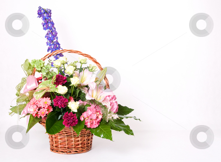 Basket of flowers stock photo, Basket full of variety colorful flowers by Wiktor Bubniak