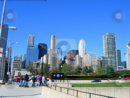 Chicago famous Skyline stock photo, Chicago famous Skyline from across parks and Lake Michigan by Daniela Mangiuca