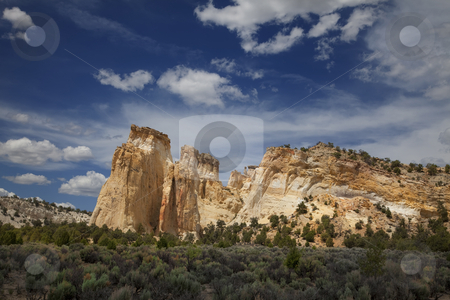Kodachrome Basin stock photo, View of red rock formations in San Rafael Swell with blue sky by Mark Smith
