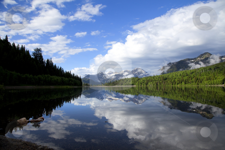 Morning Reflections stock photo, Mountainl Lake  showing reflections with blue sky's by Mark Smith