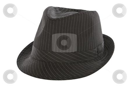 Black pinstripe fedora hat stock photo, Black pinstripe fedora hat isolated on white background by Chris Roselli