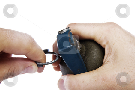 Hand grenade pin pull stock photo, Hand grenade pin pull isolated white background by Chris Roselli