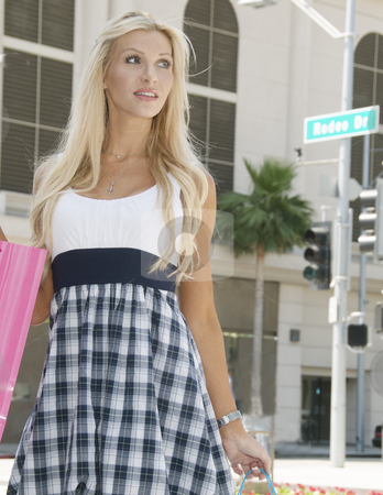 Woman Shopping stock photo, Woman shopping on Rodeo drive by Timothy OLeary