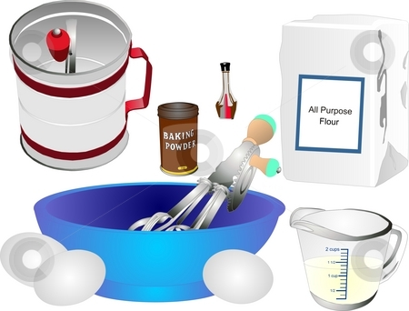 Retro baking utensils and ingredients stock photo, All the utensils to make a cake and most ingredients by Dee Boldrick