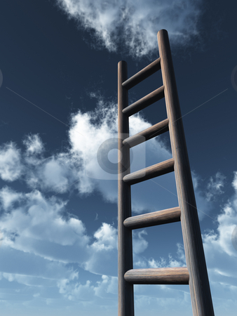 Ladder stock photo, Ladder in front of cloudy sky - 3d illustration by J?