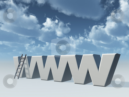 Web stock photo, The letters www and a ladder in front of cloudy sky - 3d illustration by J?