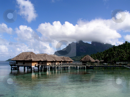 Hotel Bora Bora stock photo,  by Ryan Dandy