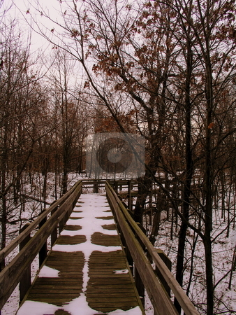 Snowy Bridge stock photo,  by Ryan Dandy
