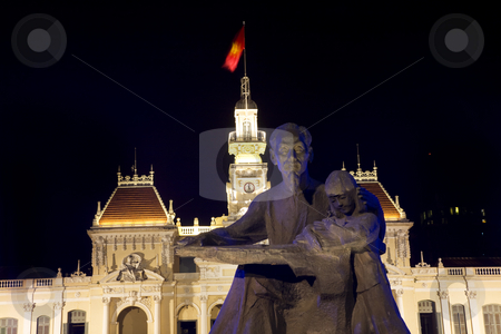 Statue of Uncle Ho Chi Minh Front of People's Committee Building stock photo, Statue Uncle Ho Chi Minh, Front of People's Committee Building at Night, Ho Chi Minh City, Saigon, Vietnam by William Perry