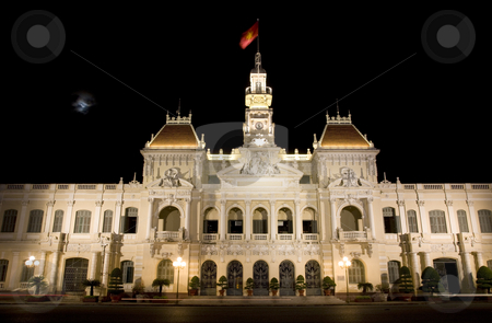 People's Committee Building Saigon Ho Chi Minh City Vietnam stock photo, People's Committee Building Saigon Ho Chi Minh City Vietnam, Moon Night Car Trails by William Perry