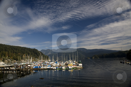 Deep Cove Vancouver stock photo, Boats at Harbor Deep Cove, Vancouver Under Fair Weather Clouds by William Perry