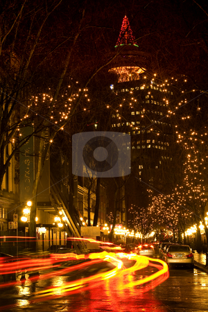 Gas Town Vancouver, BC At Night with Car Trails stock photo, Gas Town, Vancouver, British Columbia, At Night with Car Trails 