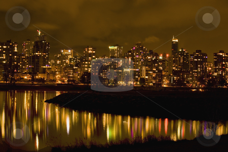 Vancouver, British Columbia at Night with Reflections stock photo, Vancouver, British Columbia, Canada at Night with Reflections by William Perry