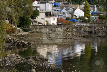 Deep Cove Reflections Harbor Vancouver BC Canada stock photo, Reflections Houses Deep Cover Harbor Vancouver British Columbia Canada by William Perry