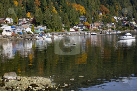 Deep Cove Harbor Raft Boat Reflections Vancouver BC Canada stock photo, Deep Cover Harbor Raft Boat Houses Reflections Fall Colors Vancouver British Columbia Canada by William Perry