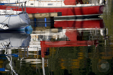 Sailboat Reflections Deep Cove Harbor Vancouver BC Canada stock photo, Sailboat Reflections Deep Cover Harbor Vancouver British Columbia Canada