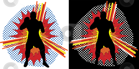Boxer Pop Art stock vector clipart, Boxer Silhouette over Pop Art Explosion Background by AUGUSTO CABRAL