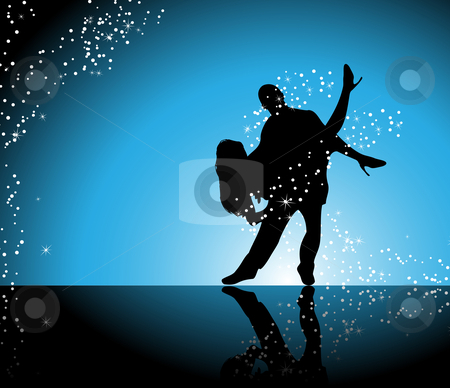 Dancers stock vector clipart, Couple dancing on blue background surrounded by sparkling stars by Augusto Cabral Graphiste Rennes