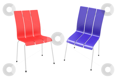Two chairs stock photo, Two chairs on a white background - blue and red by Aleksandr GAvrilov