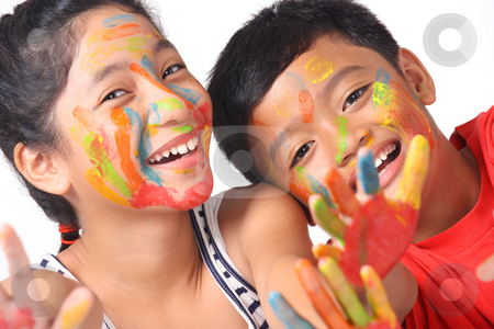 Face painting stock photo, Happy asian kids with painted faces by Claro Alindogan