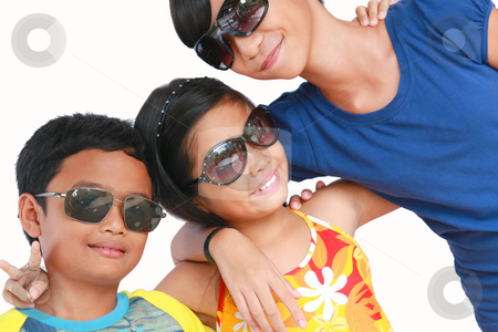 Kids in sunglasses stock photo, Happy kids wearing sun glasses by Claro Alindogan