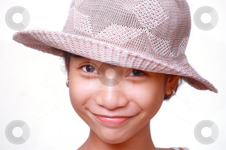 Smiling girl stock photo, Cute smiling asian girl wearing straw hat by Claro Alindogan