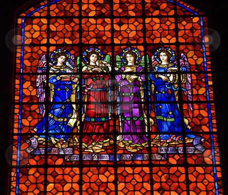 Angels Drums Pipes Stained Glass Mission Dolores San Francisco C stock photo, Angels Drums Pipes Colorful Stained Glass Mission Dolores Saint Francis De Assis San Francisco California by William Perry