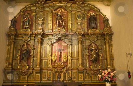 Chapel Altar Details Mission Dolores Saint Francis De Assis San  stock photo, Chapel Altar Details Statues Christ Mission Dolores Saint Francis De Assis Ornate Carvings San Francisco California